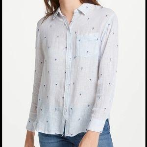 Rails Charli Shirt, Mini Palms On Royal Stripe